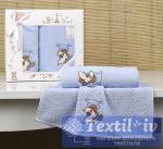 Набор детских полотенец Karna Bambino Teddy, голубой