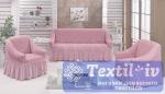 Комплект чехлов на 3-х местный диван и два кресла Evory, светло-розовый