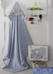 Полотенце-конверт детское Karna Bambino Train, голубой