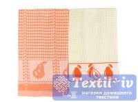 Набор кухонных полотенец Arloni Дюшес, оранжевый-белый