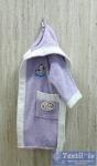 Халат детский с капюшоном Volenka Утёнок, светло-сиреневый/белый