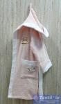 Халат детский с капюшоном Volenka Совёнок, светло-розовый/белый
