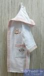 Халат детский с капюшоном Volenka Совёнок, белый/светло-розовый