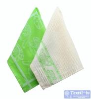 Набор кухонных полотенец Arloni Завтрак, зеленый-белый