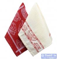 Набор кухонных полотенец Arloni Завтрак, бордо-белый