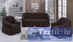 Комплект чехлов на 3-х местный диван и два кресла Evory, коричневый