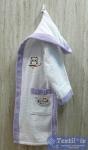Халат детский с капюшоном Volenka Совёнок, белый/светло-сиреневый