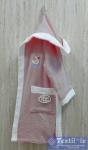 Халат детский с капюшоном Volenka Утёнок, тёмно-розовый/белый