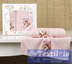 Набор детских полотенец Karna Bambino Teddy, розовый
