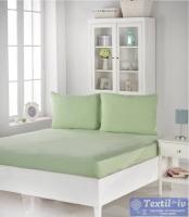 Комплект из простыни на резинке и наволочек Karna Acelya, светло-зеленый