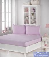 Комплект из простыни на резинке и наволочек Karna Acelya, светло-розовый
