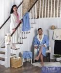 Набор халатов семейный Karna Adra, кремовый-голубой
