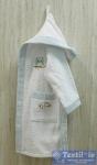 Халат детский с капюшоном Volenka Совёнок, белый/светло-голубой