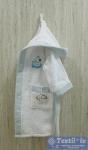 Халат детский с капюшоном Volenka Утёнок, белый/светло-голубой