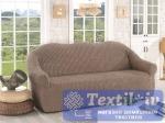 Чехол без юбки на 3-х местный диван Karna, кофейный