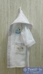 Халат детский с капюшоном Volenka Утёнок, белый/светло-серый