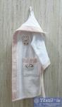 Халат детский с капюшоном Volenka Мишка, белый/светло-розовый