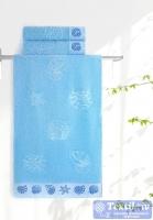 Полотенце Aquarelle Ракушки, светло-васильковый