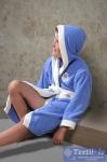 Халат детский с капюшоном Karna Silver, голубой